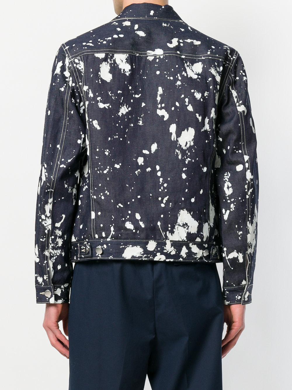 3.1 Phillip Lim Cotton Paint-effect Bomber Jacket in Blue for Men