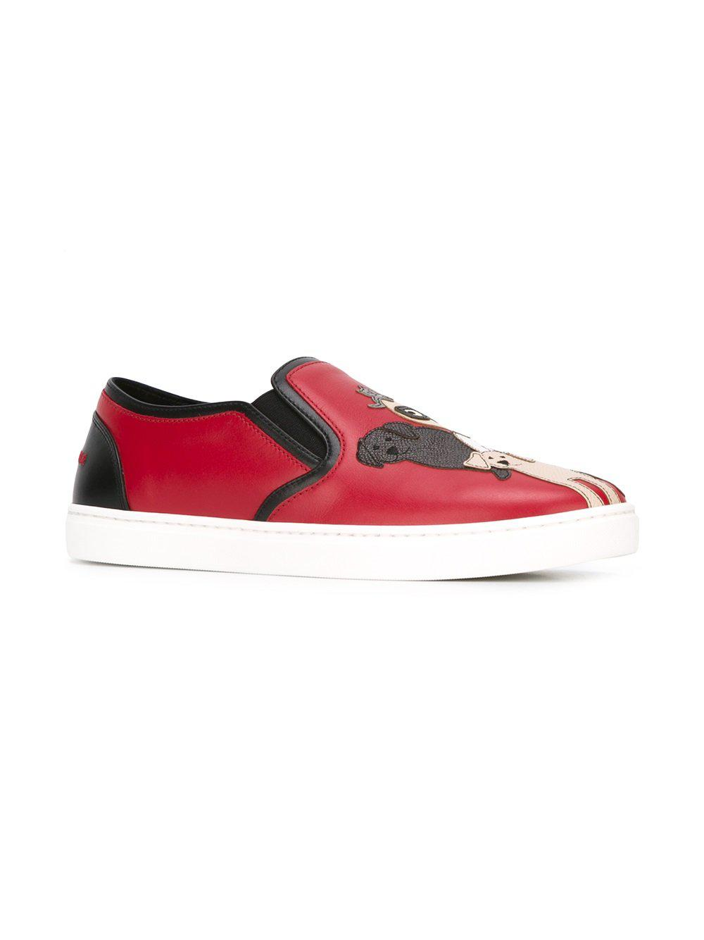 Dolce & Gabbana Woman Appliquéd Leather Sneakers Claret in Red