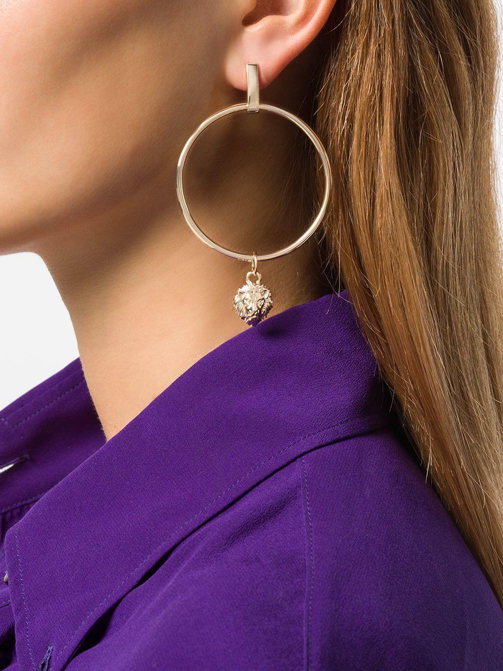Versus Charm Hoop Earrings in Metallic