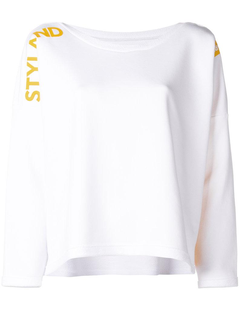 Sast Sale Online Visa Payment Online dropped shoulders logo sweater - White Styland Discount Authentic Online Perfect Cheap Price Outlet Sale av1D5suR6