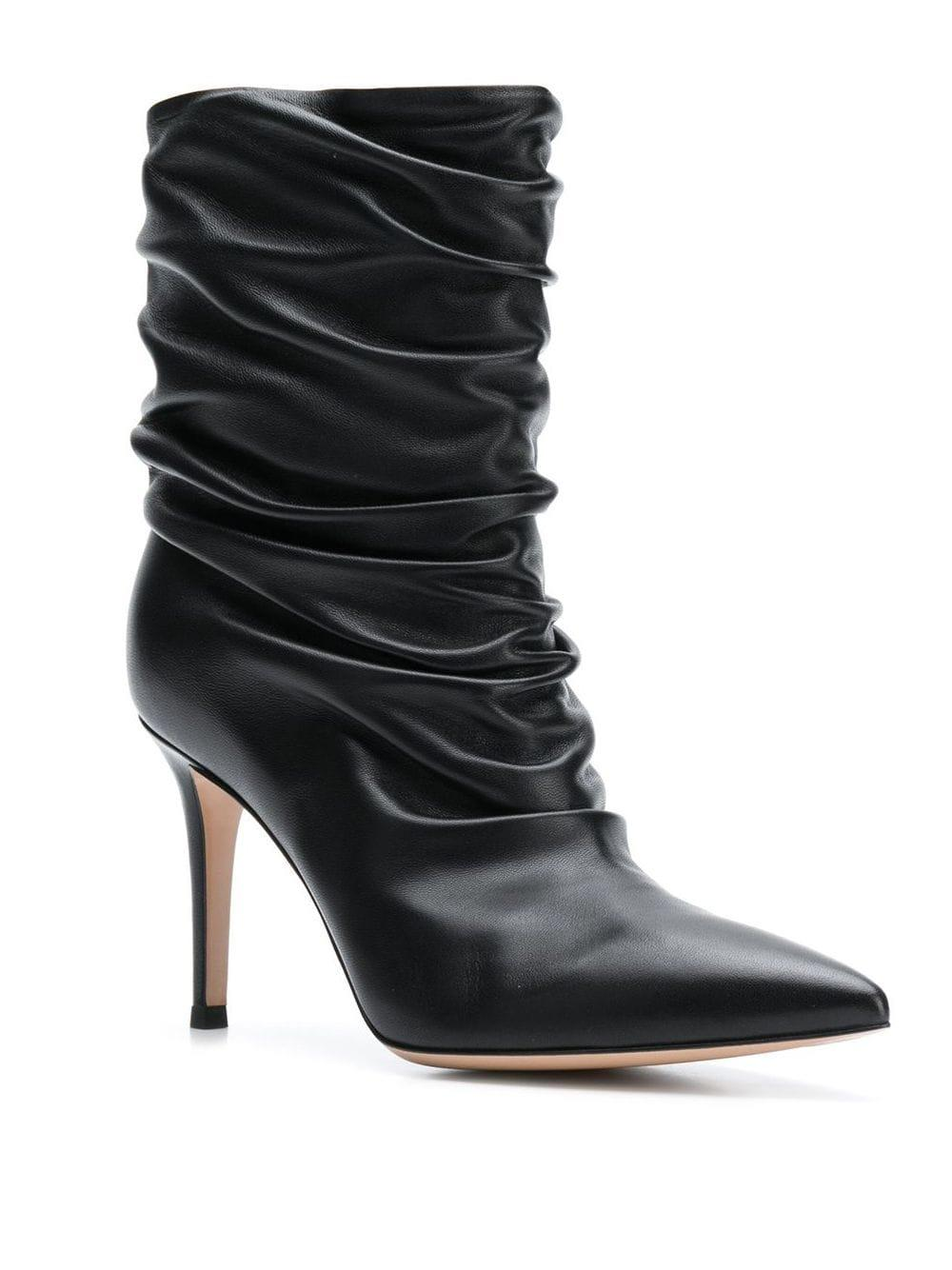 Gianvito Rossi Leather Cecile Gathered Boots in Black