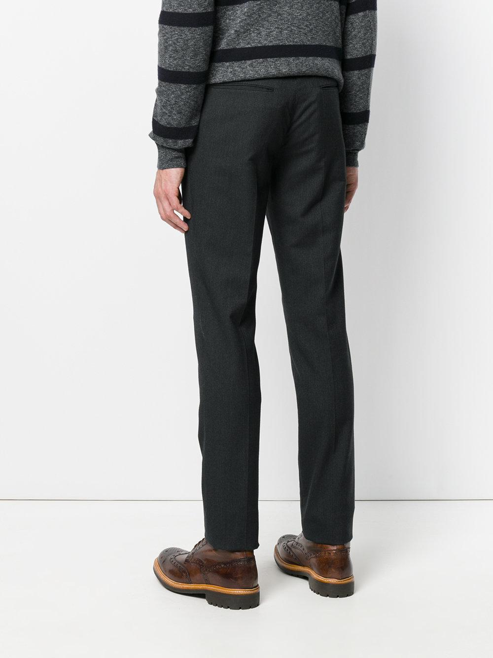 Incotex Cotton Slim Fit Tailored Trousers in Grey (Grey) for Men