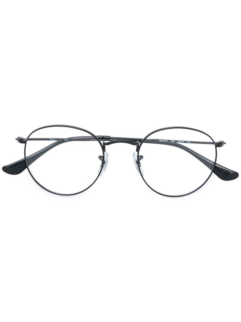8e98080c80c Ray-Ban Round Metal Eyeglasses in Black - Lyst
