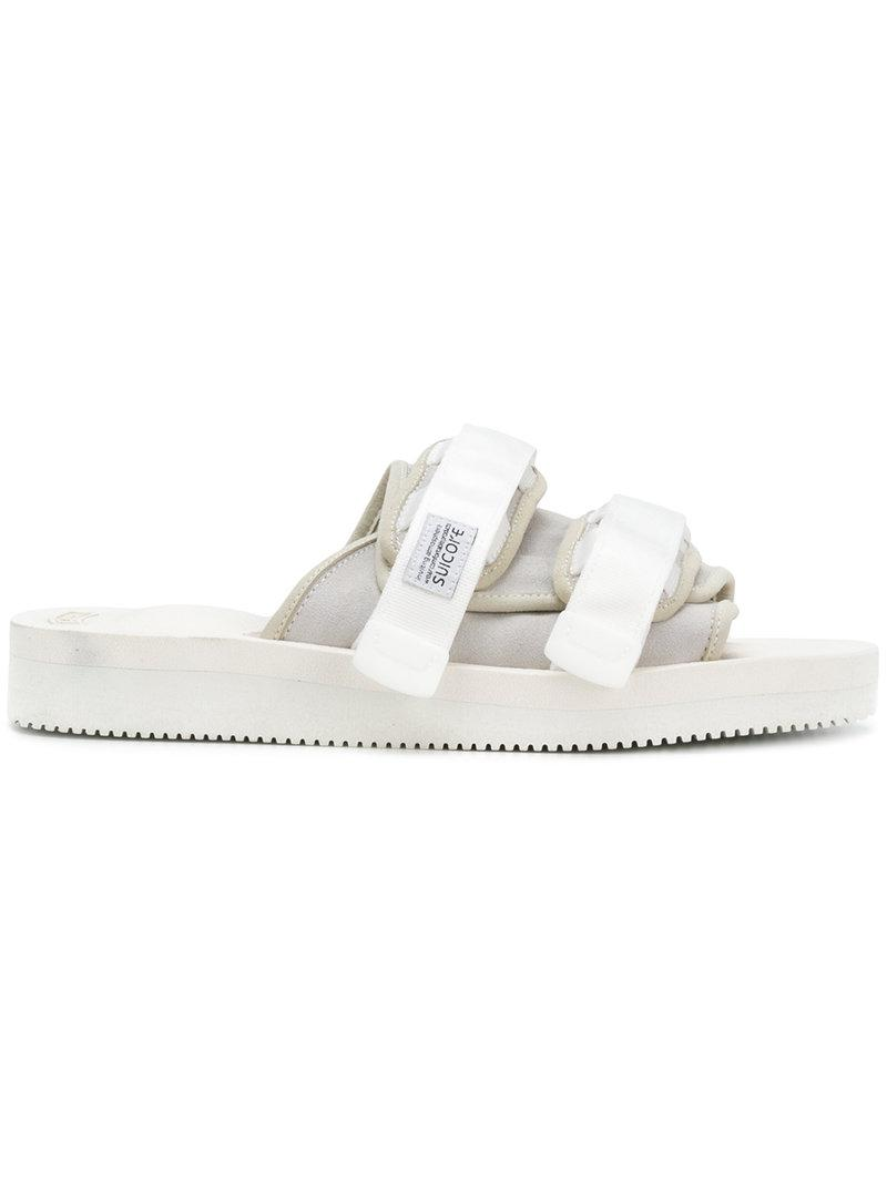 a5bb7b68ccb Suicoke Touch Strap Moto Sandals in White - Lyst