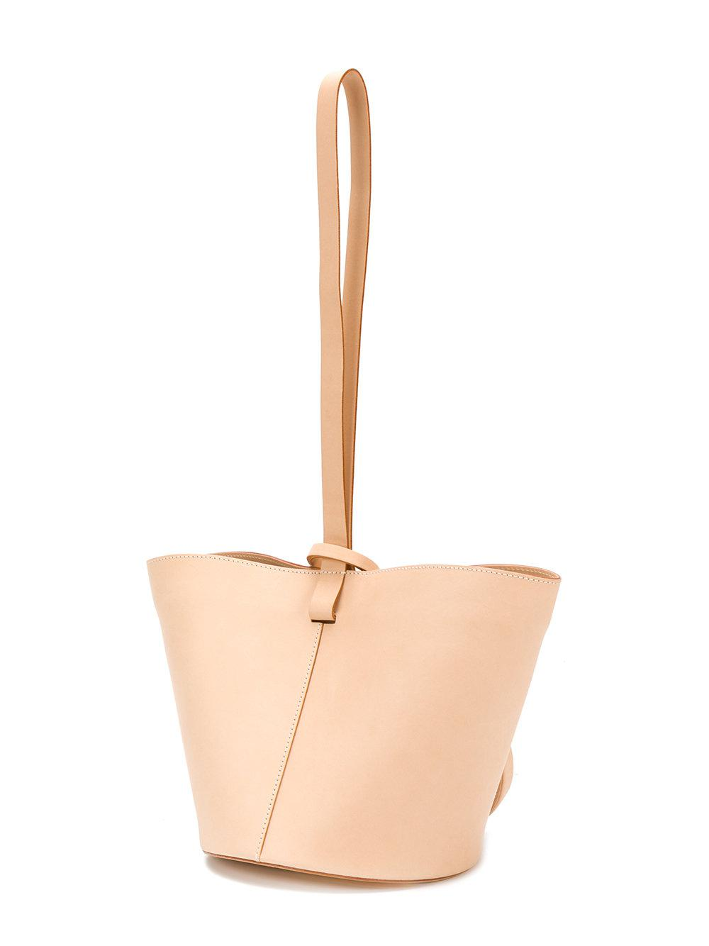 Building Block Leather Bucket Tote in Natural