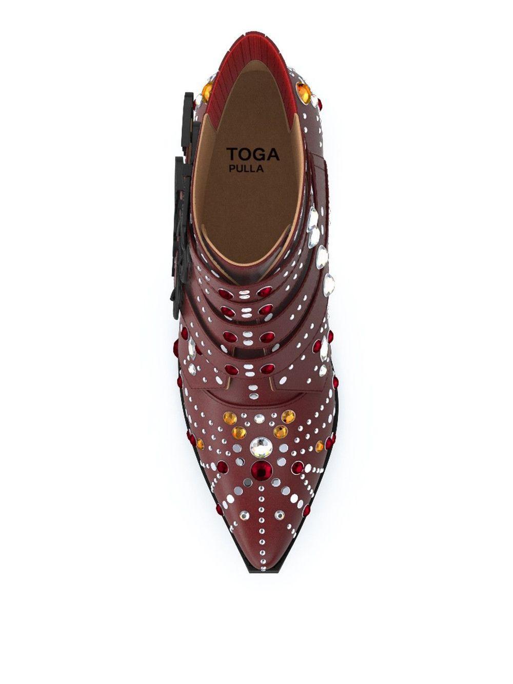 Botas con cristales Elvis Toga de Cuero de color Rojo
