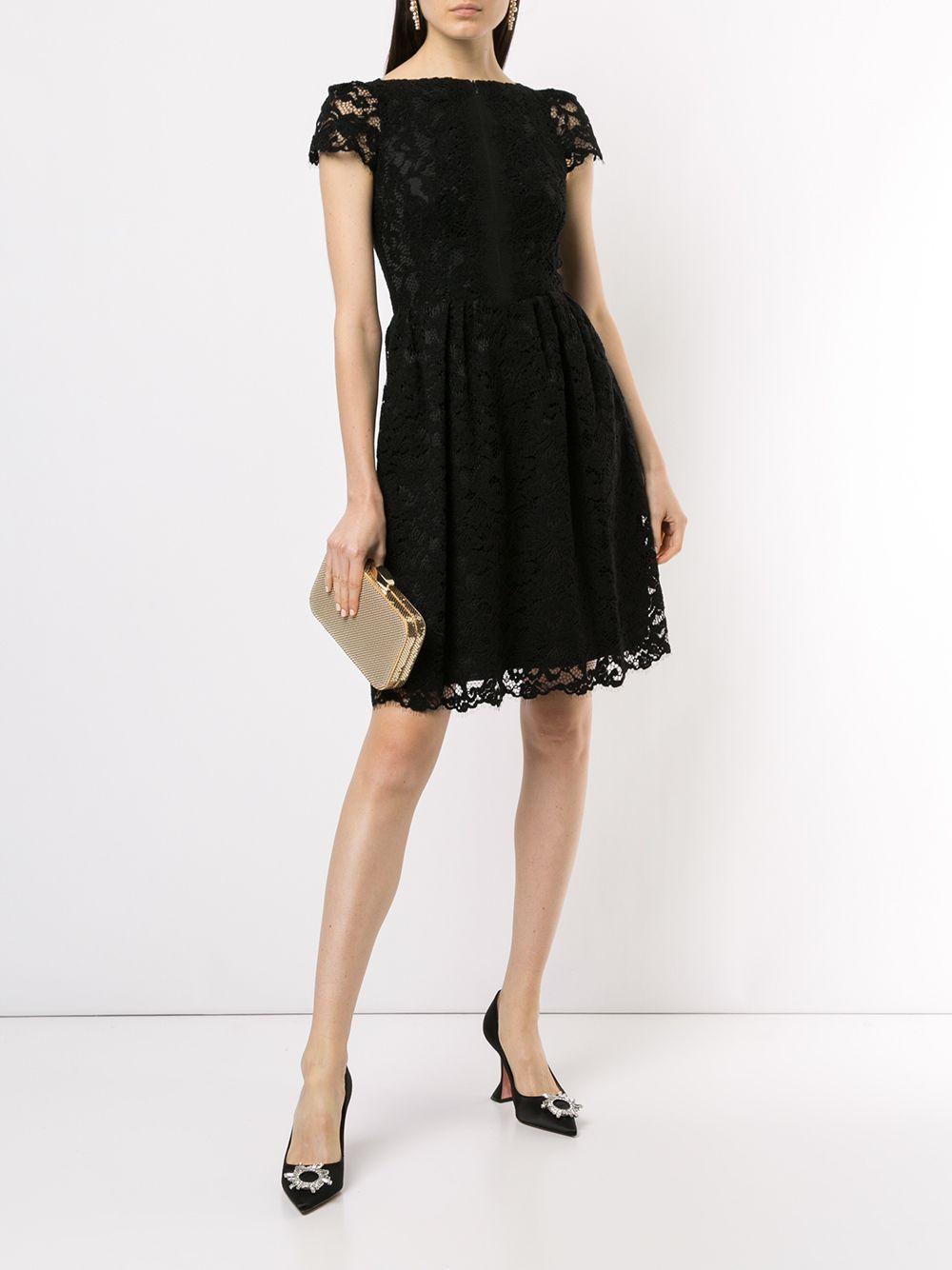 Vestido midi con encaje Paule Ka de Encaje de color Negro