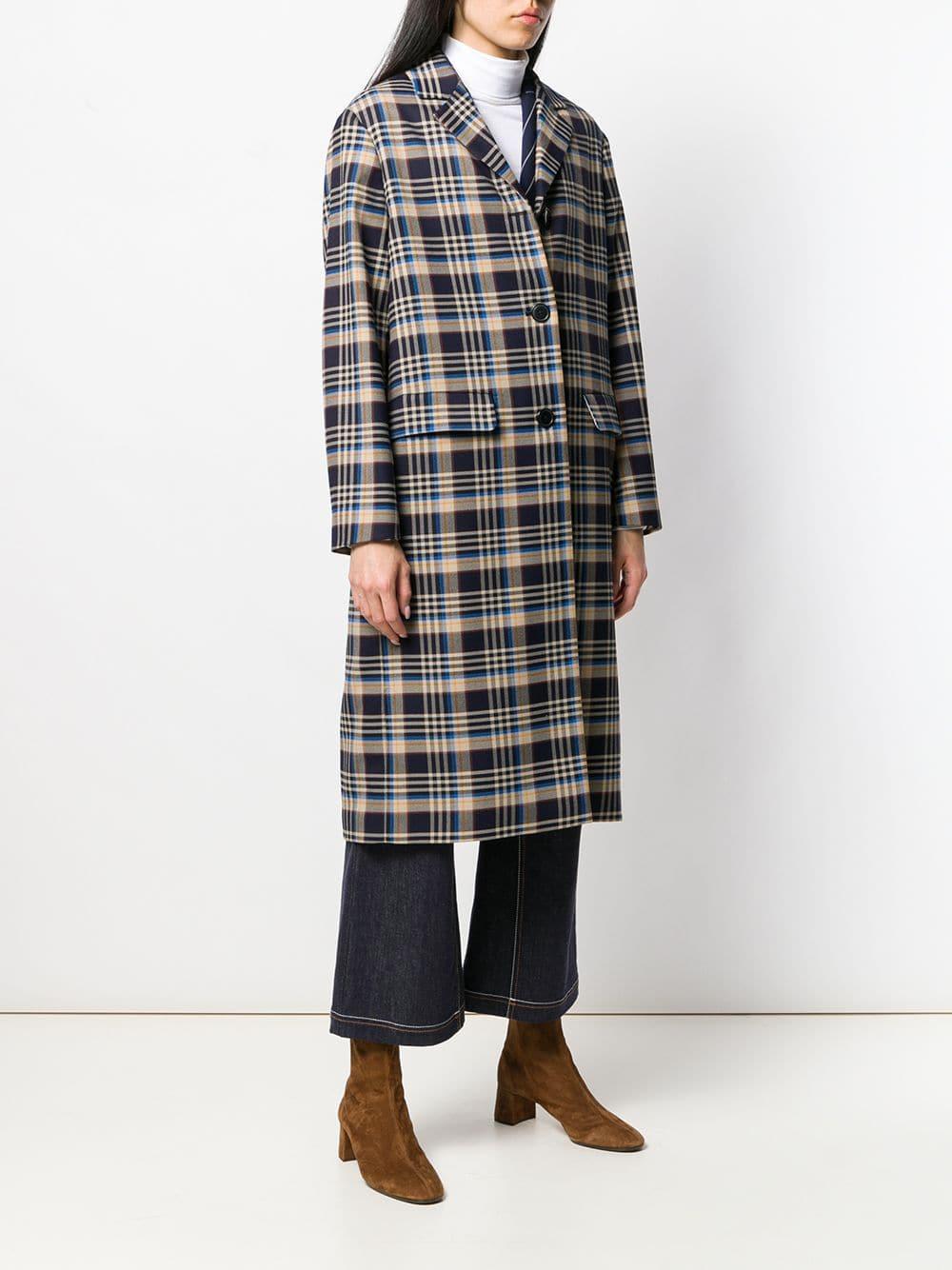 Manteau mi-long à carreaux Closed en coloris Bleu CO2vT