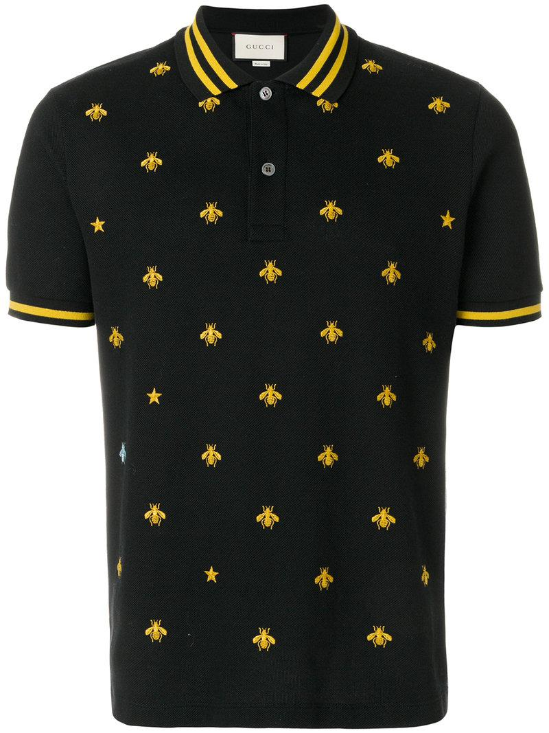 Lyst gucci embroidered bee polo shirt in black for men for Man in polo shirt