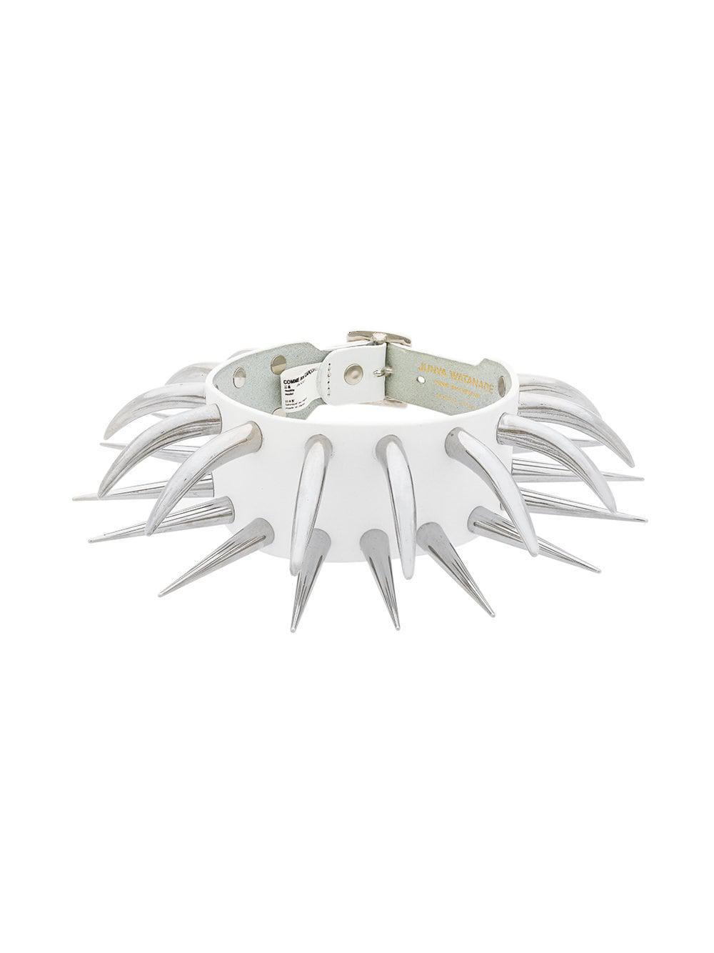 Junya Watanabe Leather Spike Choker in White
