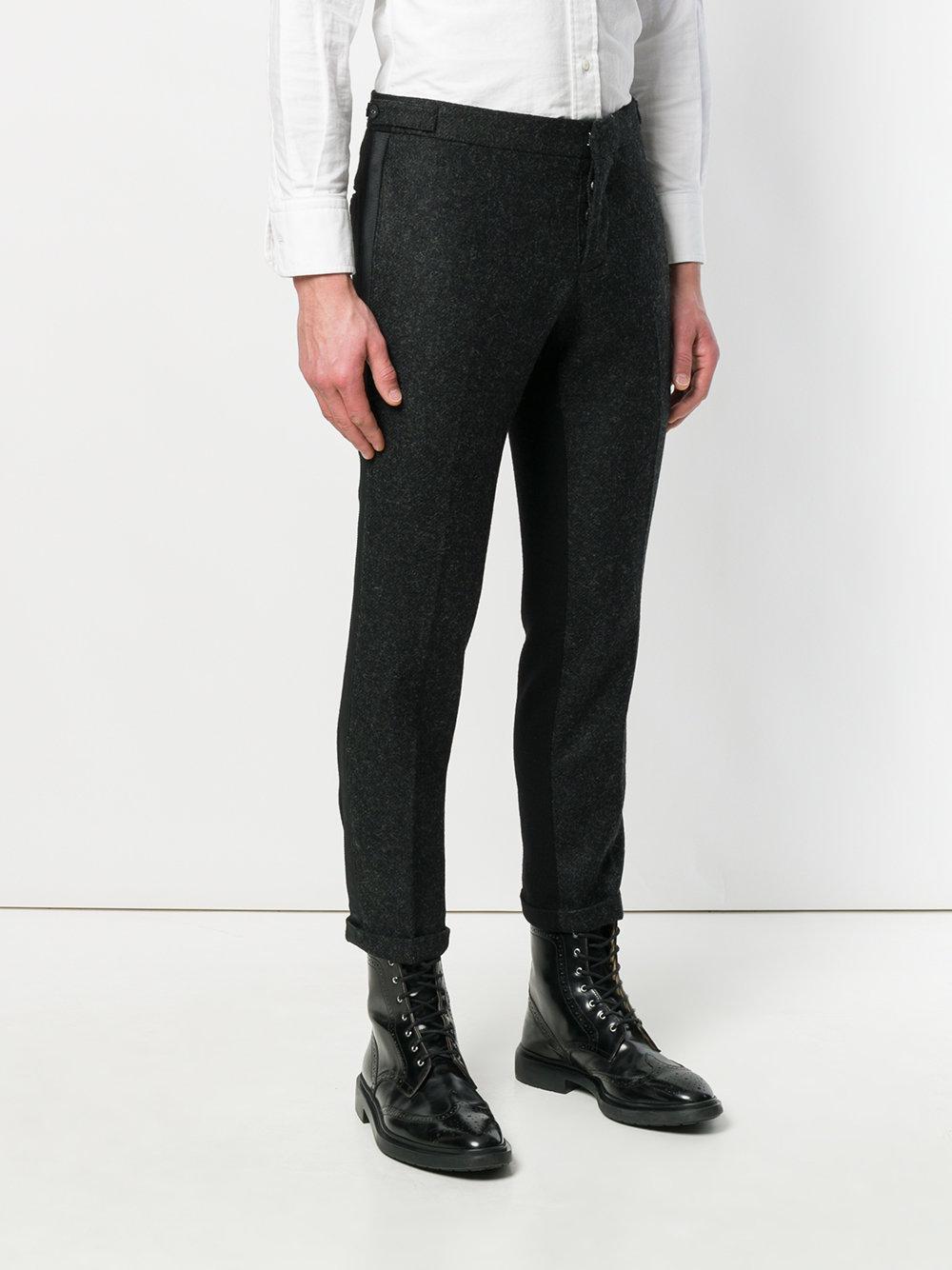 Grosgrain-Tipped Bicolor Skinny Trouser In Shetland Wool - Grey Thom Browne 9sOhr2457E