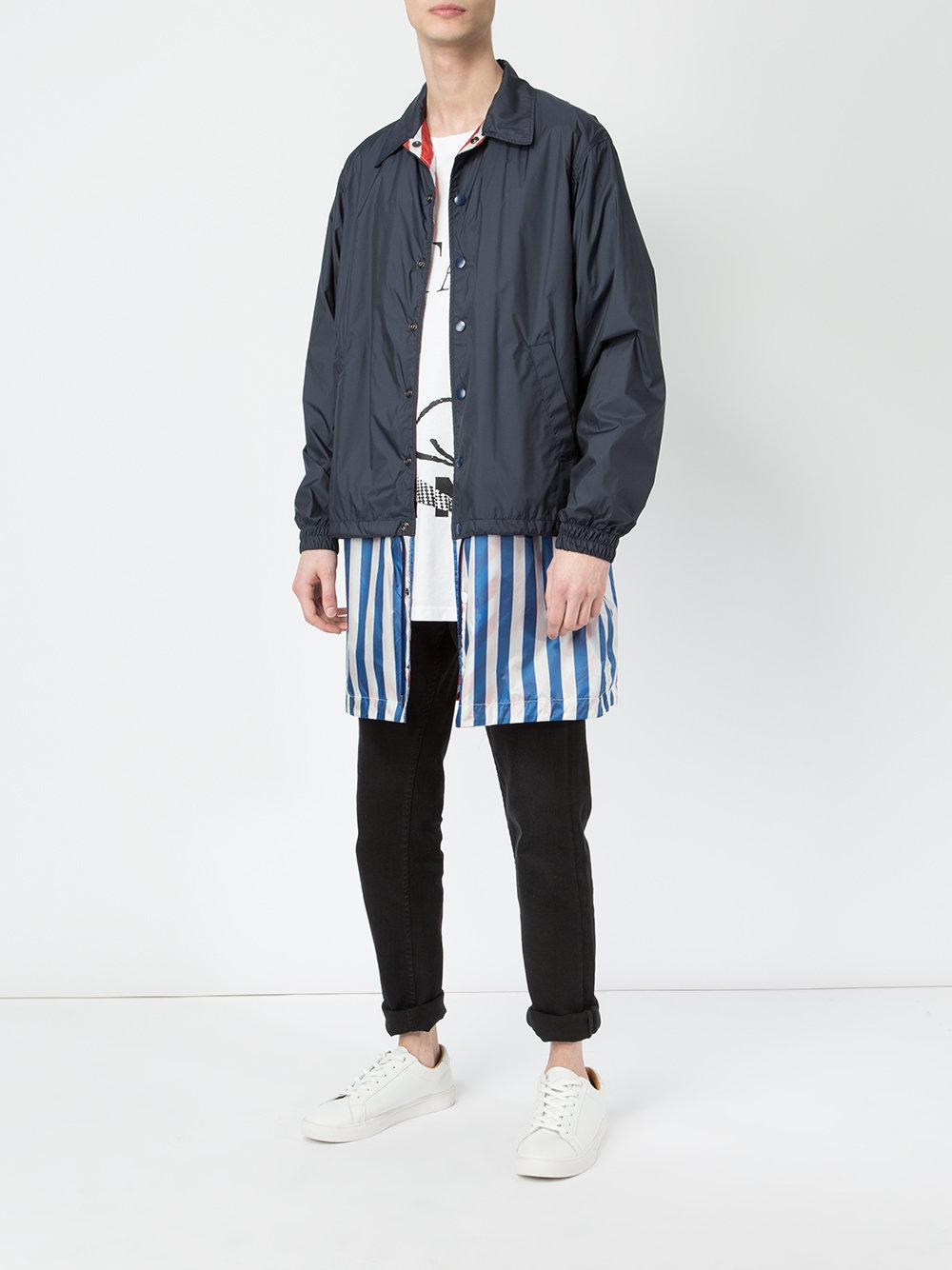 Facetasm Cotton Shirt Hem Windbreaker Jacket in Blue for Men