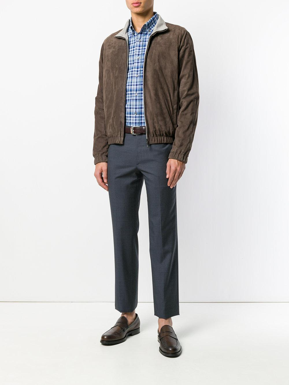 Loro Piana Leather Fitted Lightweight Jacket in Brown for Men