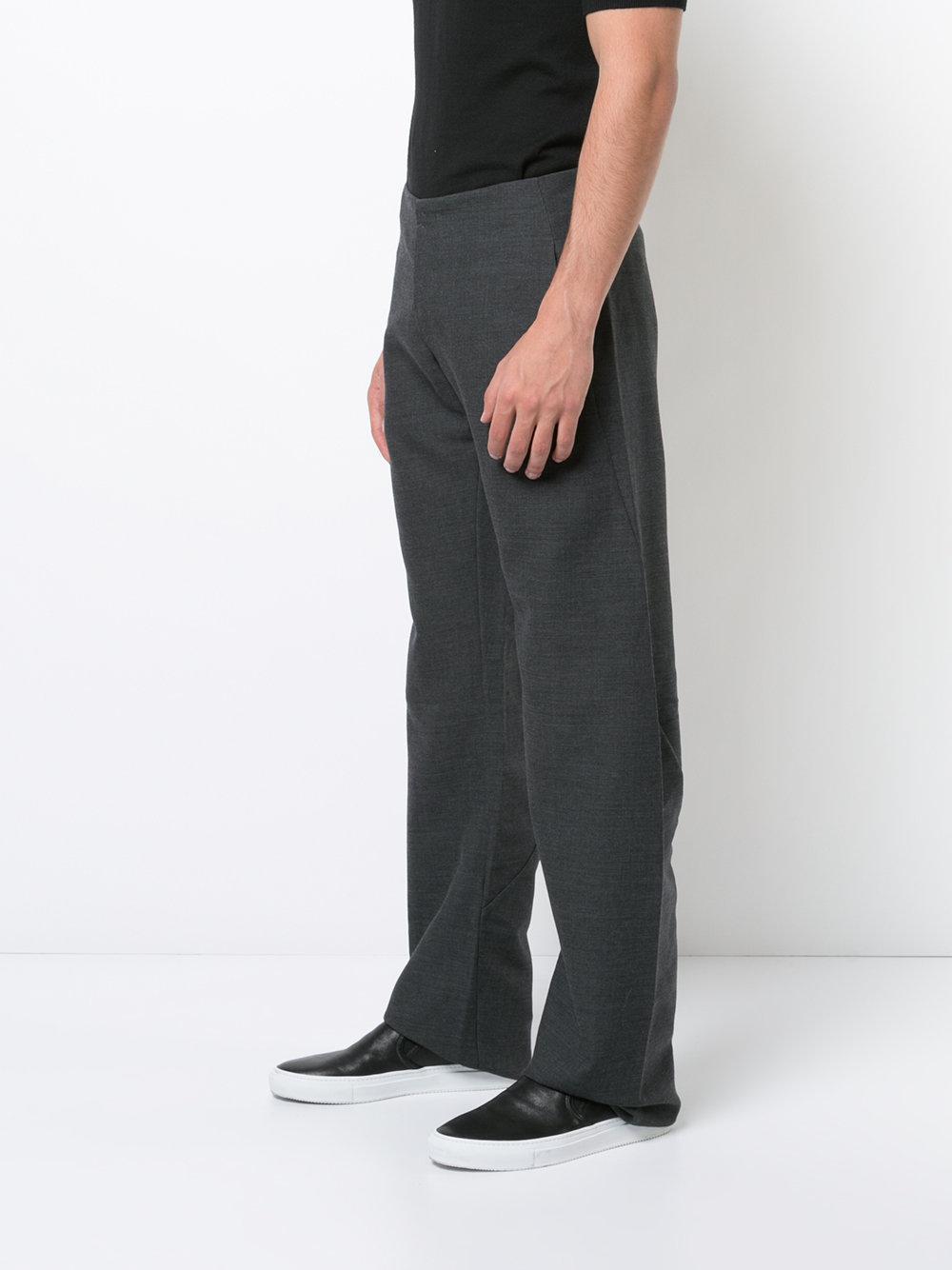 Ma+ Wool Wide Leg Trousers in Grey (Grey) for Men