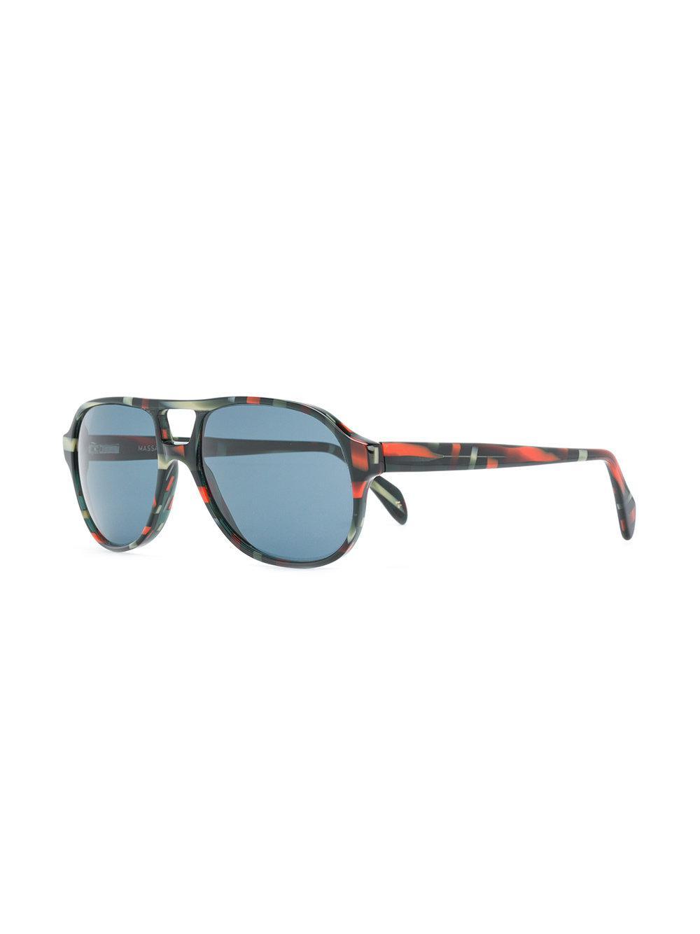 Lgr Patterned Aviator Sunglasses in Blue
