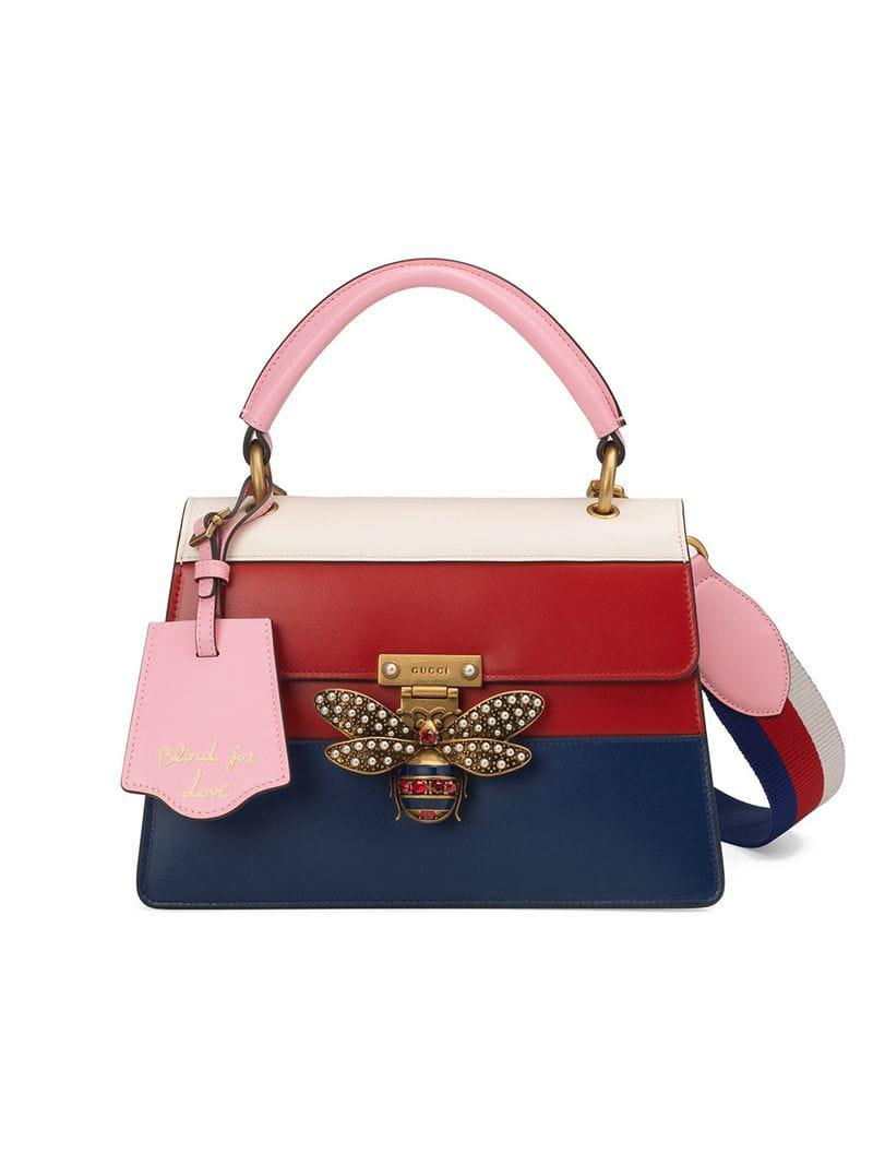 ef21f3ab91196 Gucci Queen Margaret Leather Top Handle Bag in Red - Save 13% - Lyst