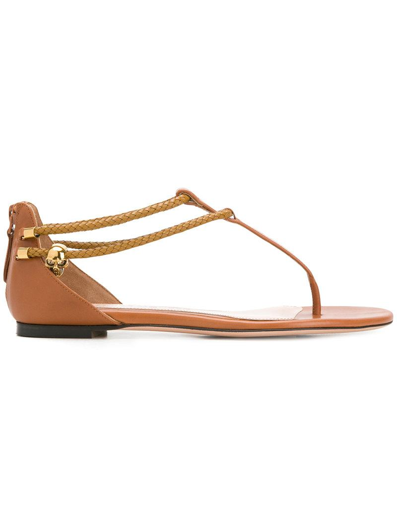 Alexander Mcqueen Zippé Style Sandales Plates - Marron mY9FE