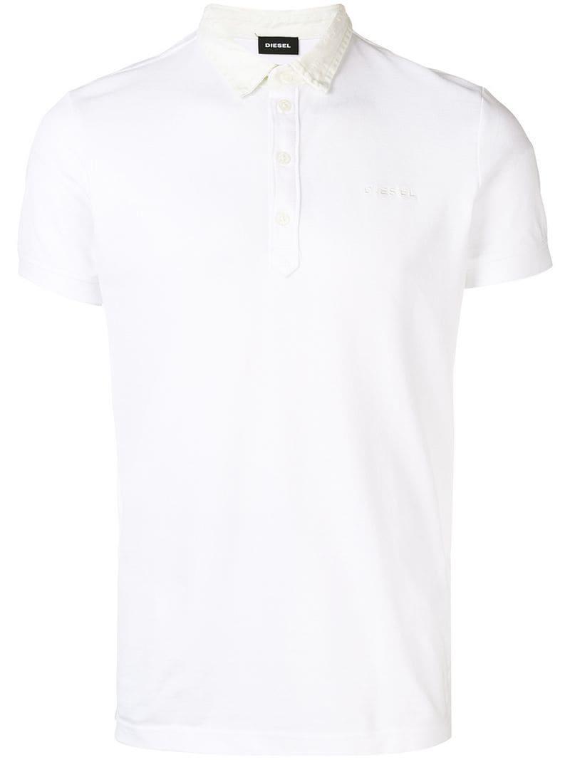ddd8047c DIESEL - White T-miles Polo Shirt for Men - Lyst. View fullscreen