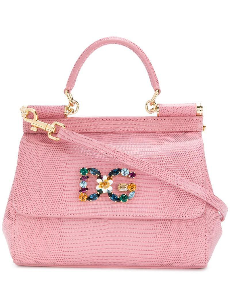 6788b667eb7f Lyst - Dolce   Gabbana Jewelled Sicily Bag in Pink