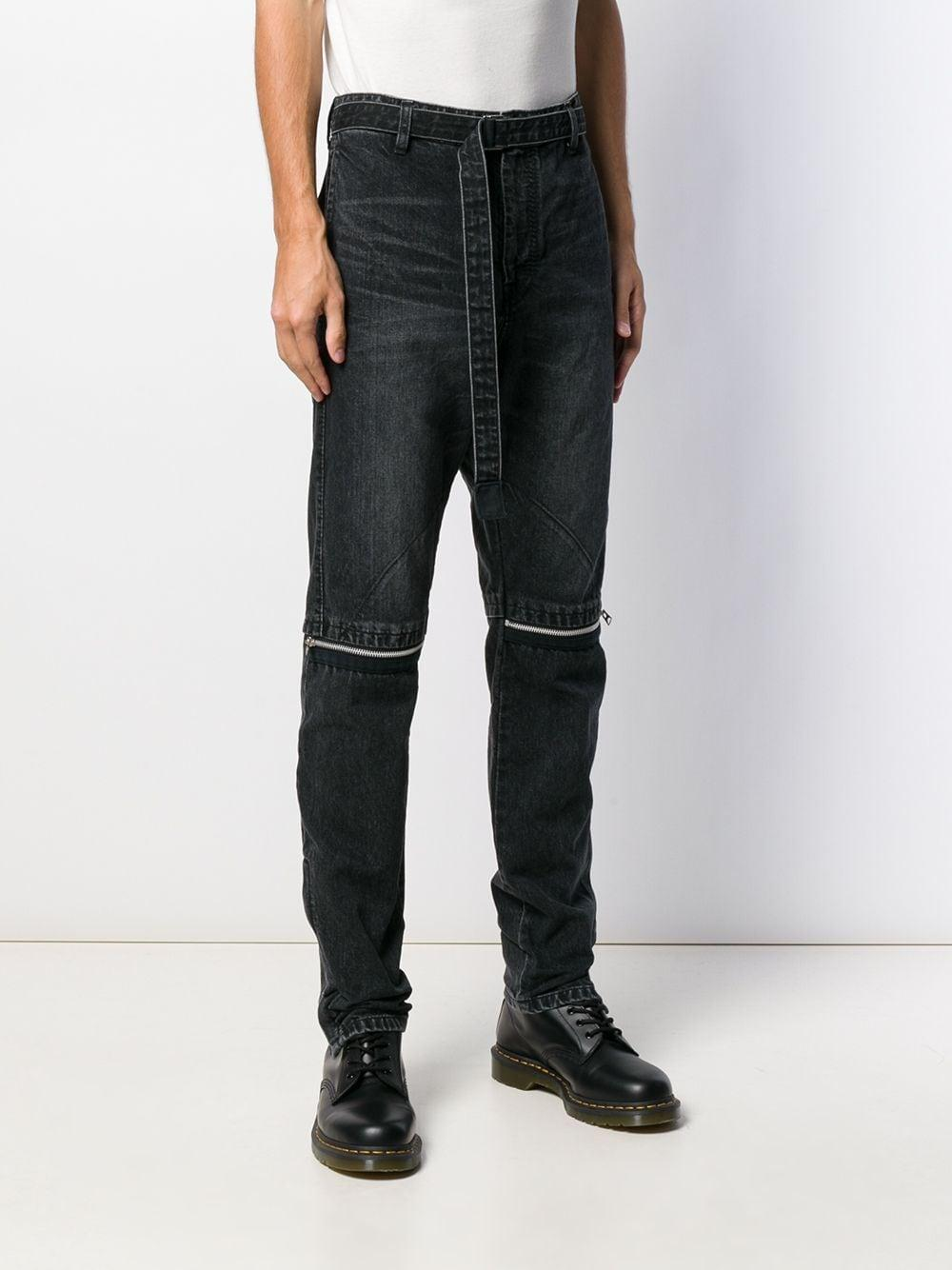 Sacai Denim Jeans Met Rits in het Zwart voor heren
