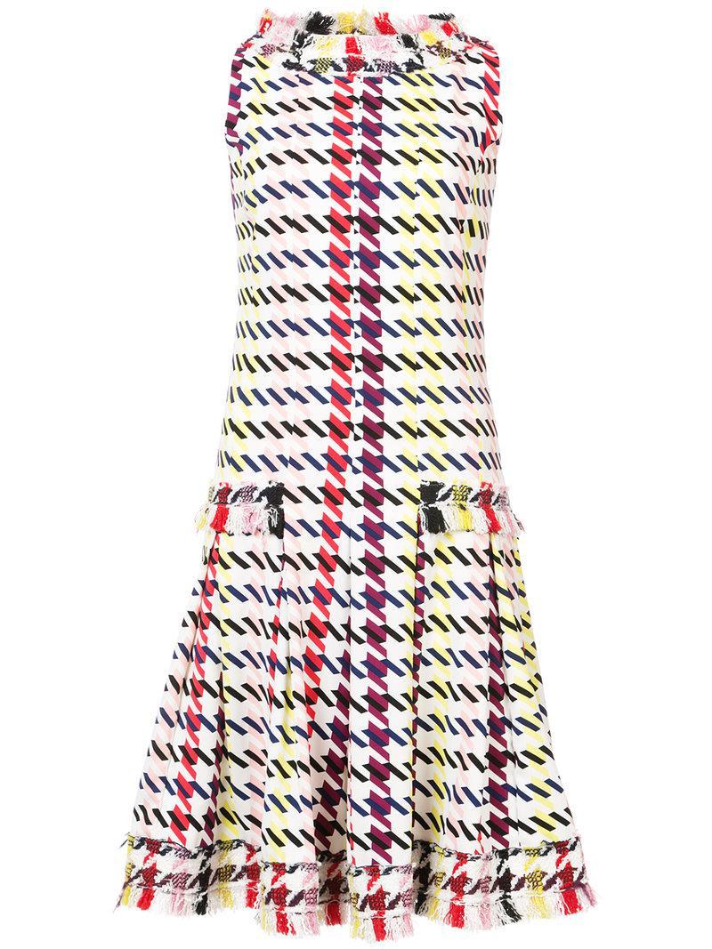 graphic-print fringed flared dress - Multicolour Oscar De La Renta IPEQau