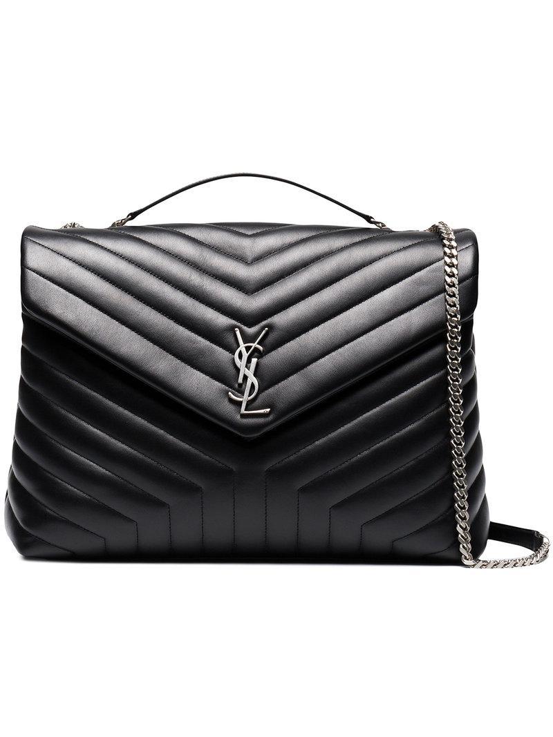 5d1e987251b4 Lyst - Saint Laurent Loulou Quilted Leather Shoulder Bag in Black