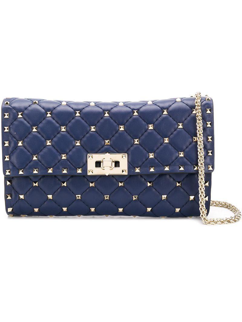 72791001580d Lyst - Valentino Garavani Rockstud Spike Shoulder Bag in Blue