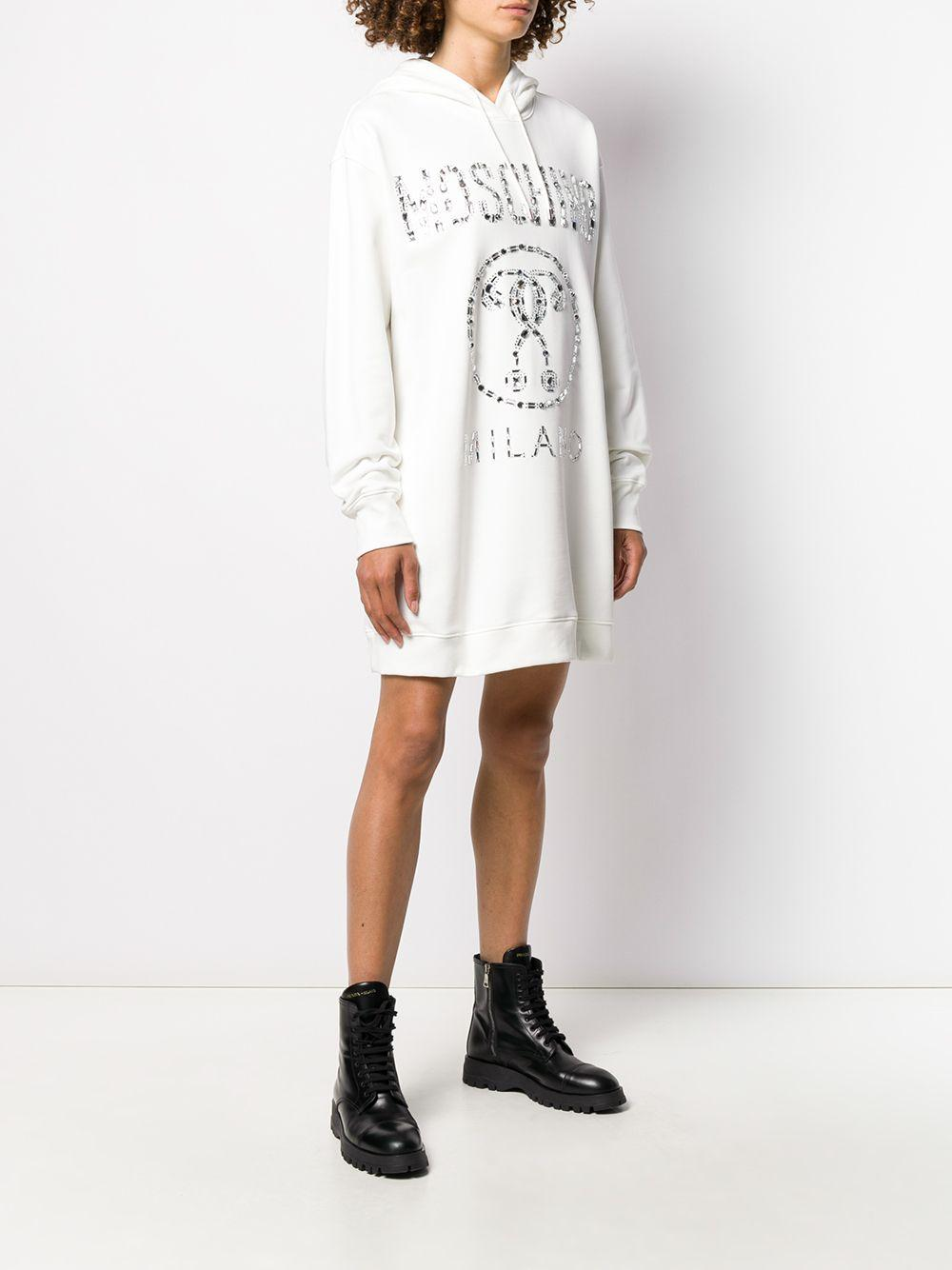 Robe-sweat oversize à logo Moschino en coloris Blanc