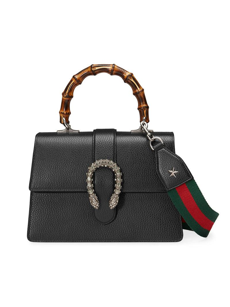 be691da52 Gucci Dionysus Leather Top Handle Bag in Black - Save 27% - Lyst