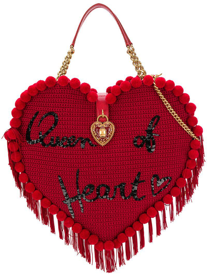 Lyst Coloris Sac Gabbana Rouge My amp; En À Main Crochet Dolce Heart HHvxq7rdn6