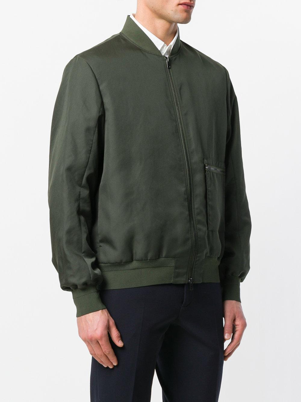 OAMC Synthetic Zipped Bomber Jacket in Green for Men