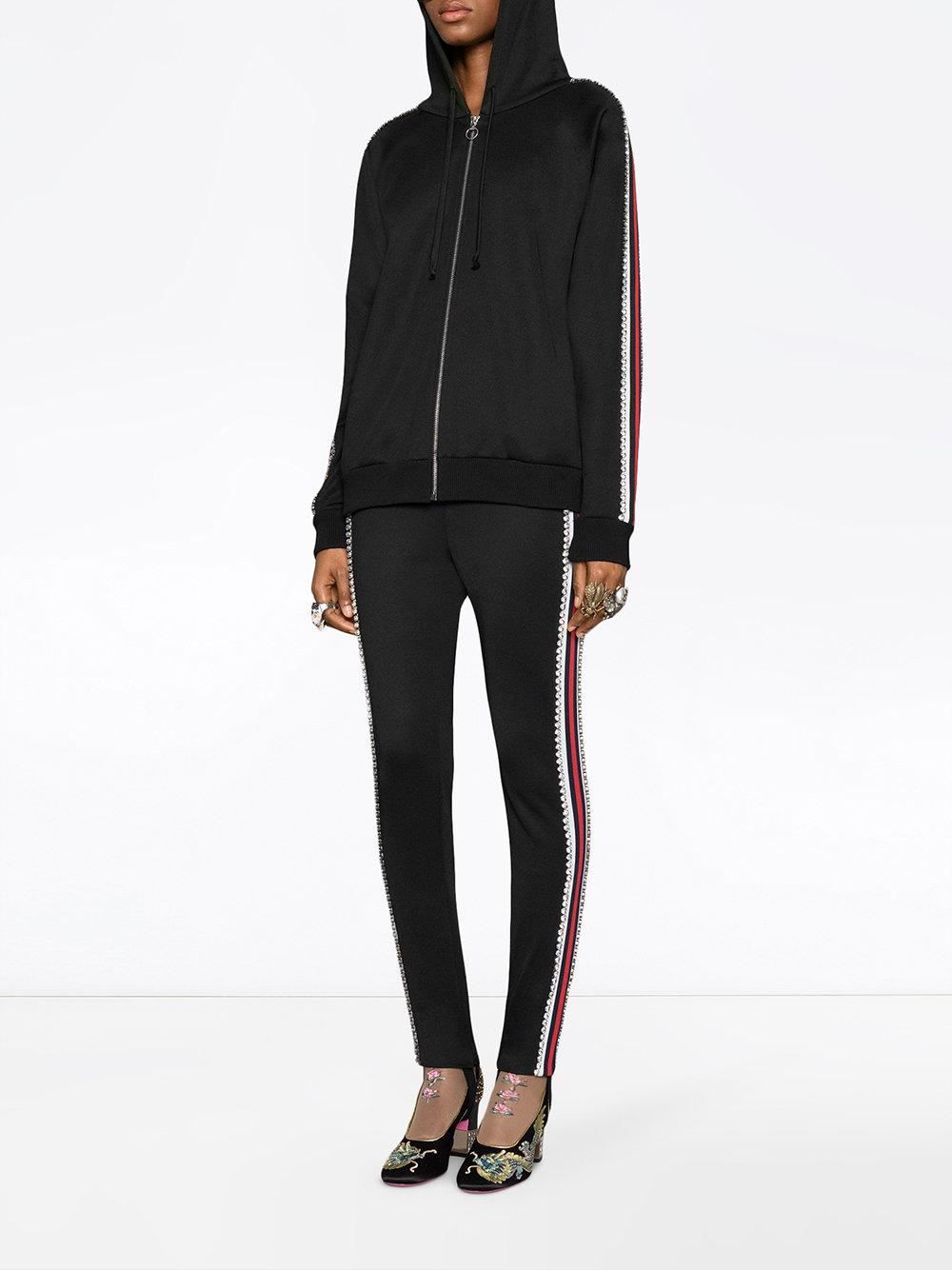 673952eff2f1 Lyst - Gucci Technical Jersey Stirrup Leggings With Crystals in Black