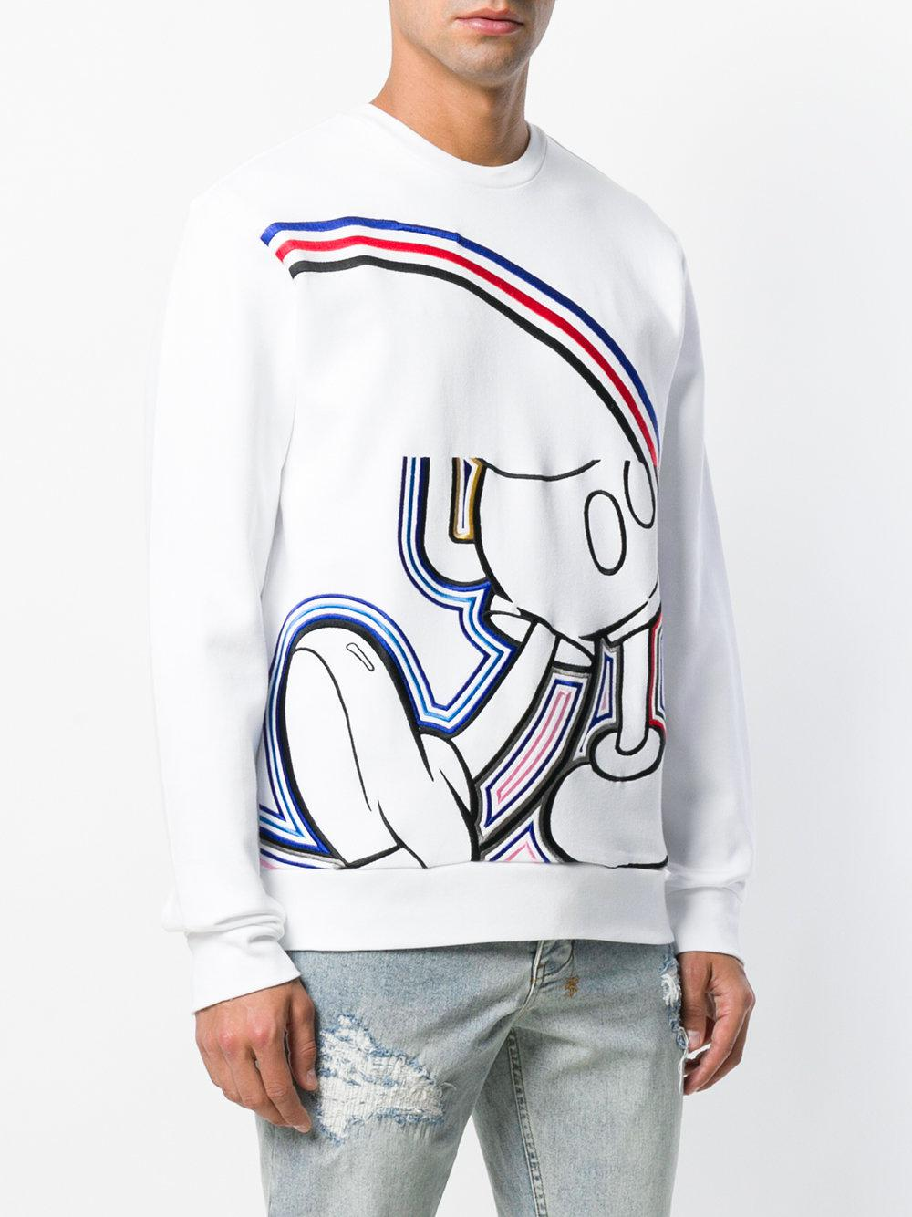 Iceberg Cotton Mickey Embroidered Sweatshirt in White for Men