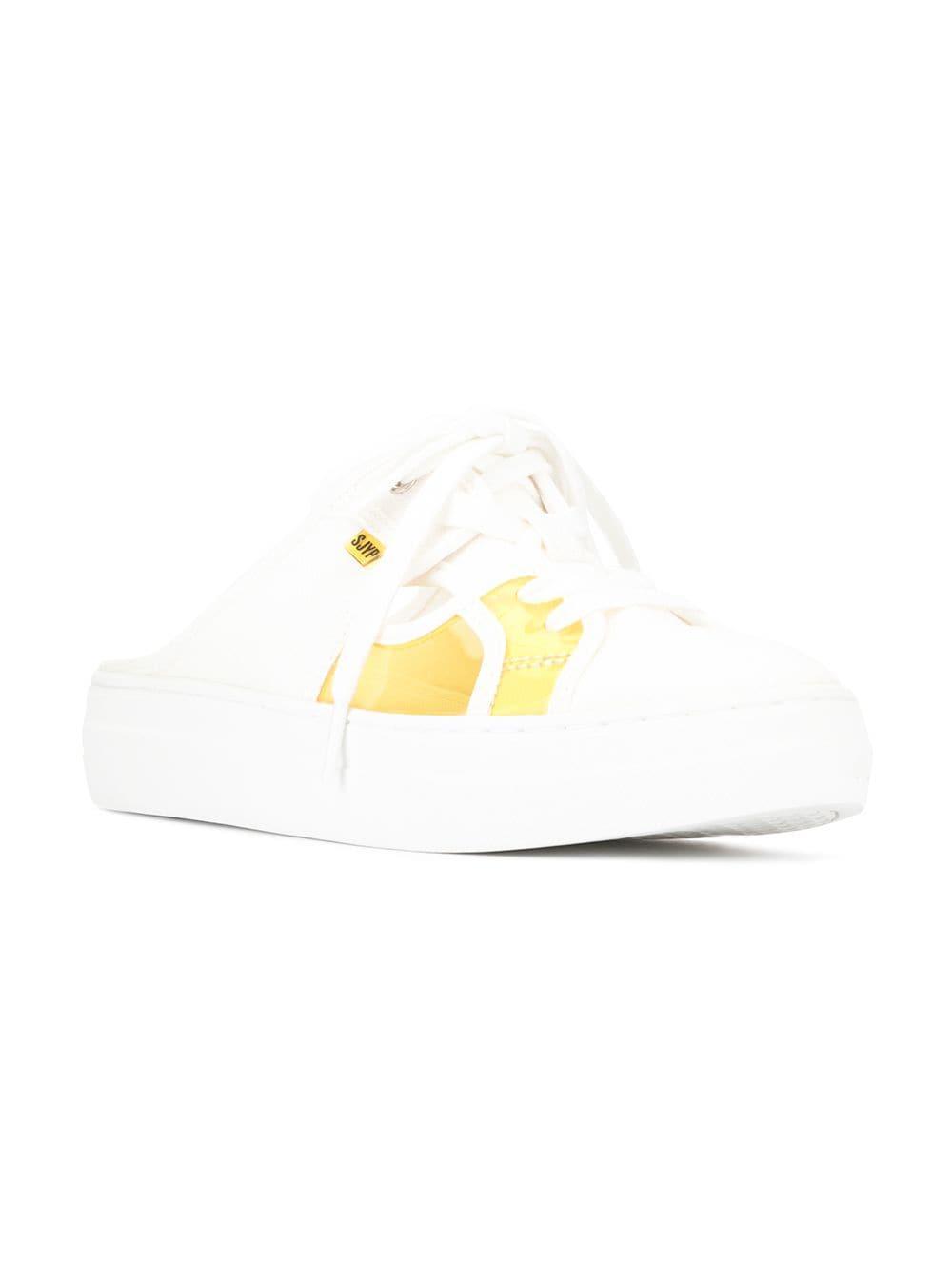 Zapatillas estilo mules con diseño de paneles SJYP de Algodón de color Blanco