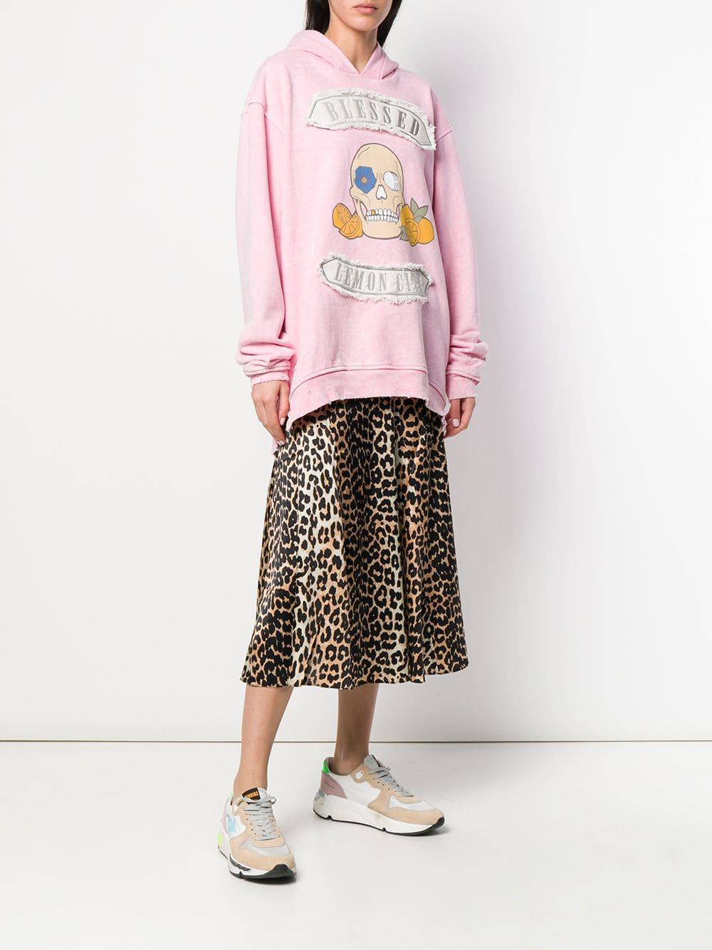 Sudadera oversize con capucha y estampado de calavera Alchemist de Algodón de color Rosa