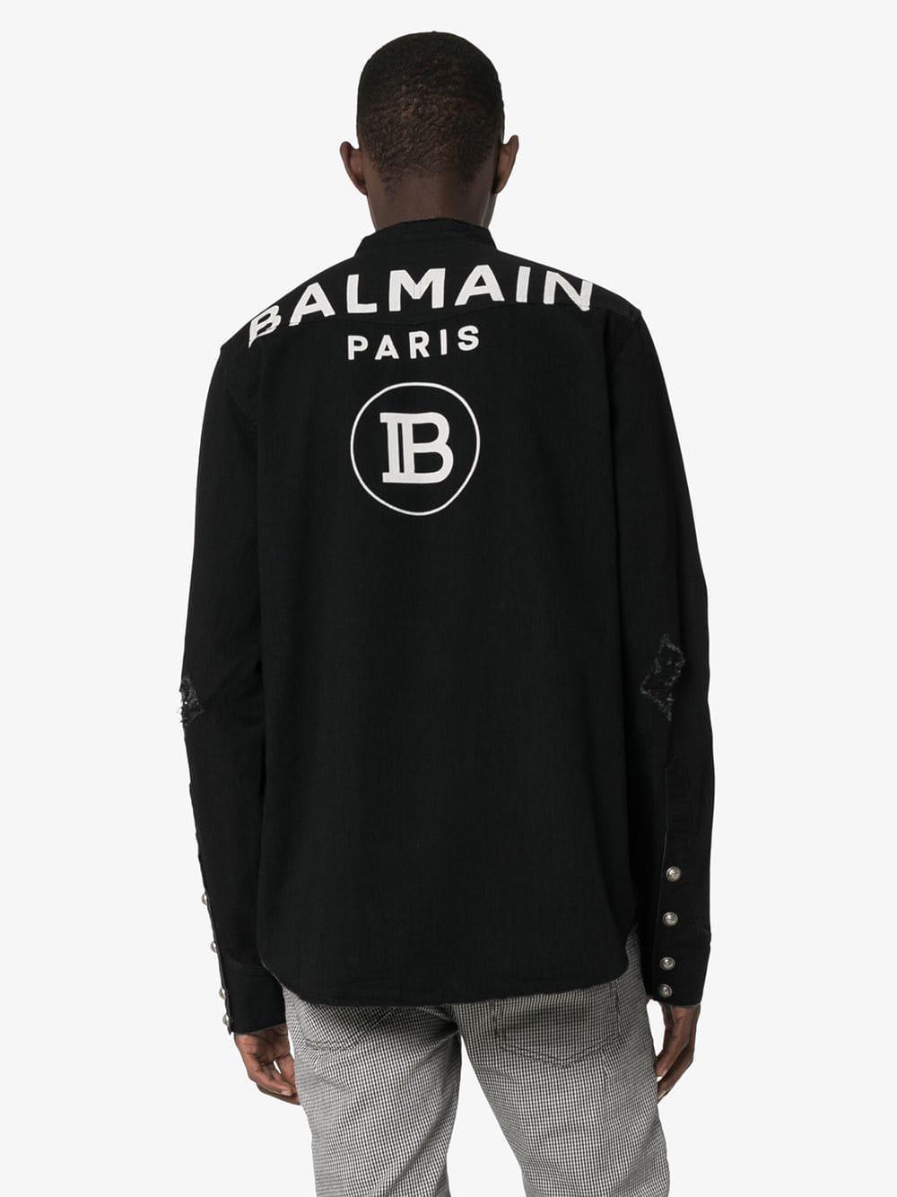 Balmain Gerafeld Denim Overhemd in het Zwart voor heren