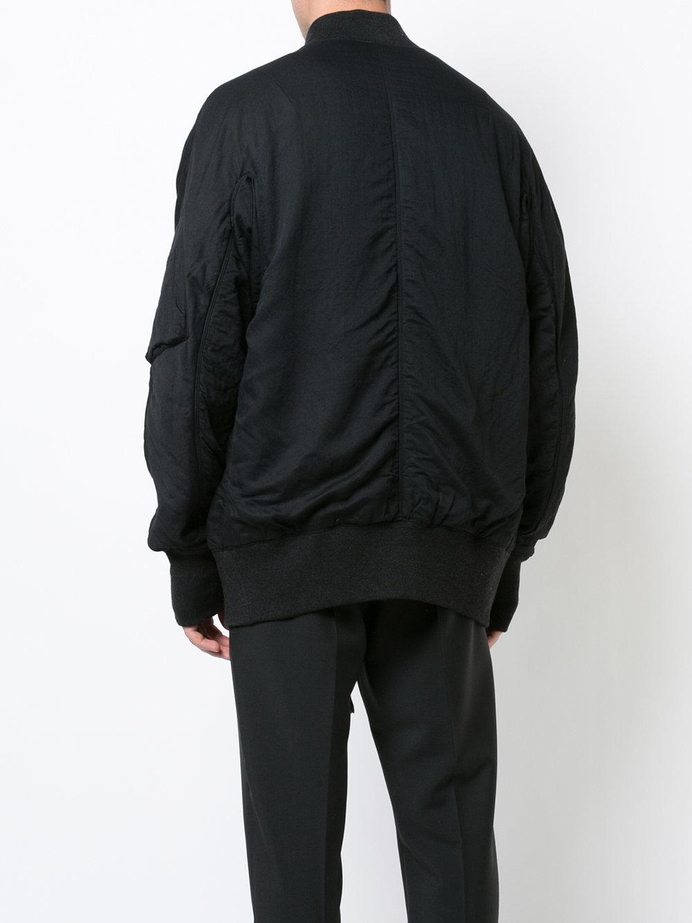 Ziggy Chen Wool Bomber Jacket in Black for Men