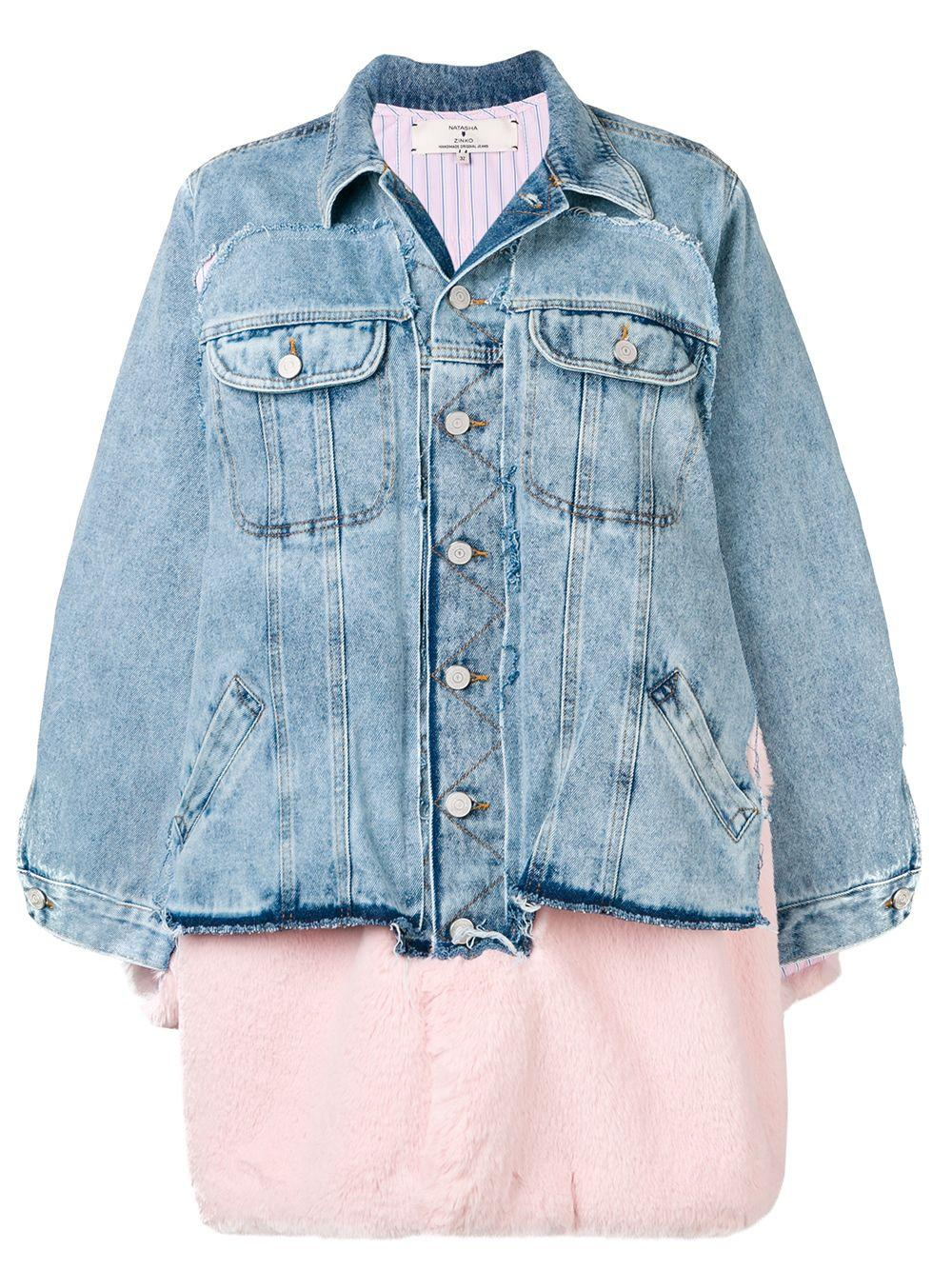 Natasha Zinko Redone Faux-Fur Trim Denim Jacket In Blue - Lyst