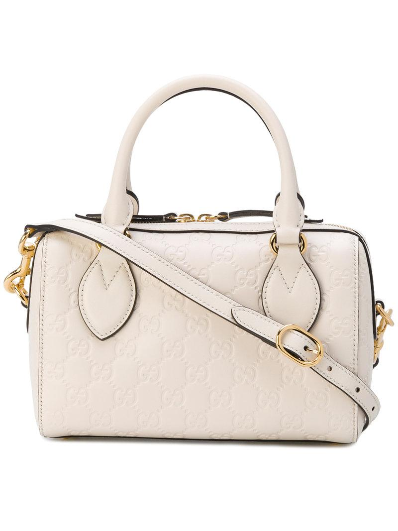 27dc2cee0b0 Lyst - Gucci Small Soft Signature Top Handle Bag in White