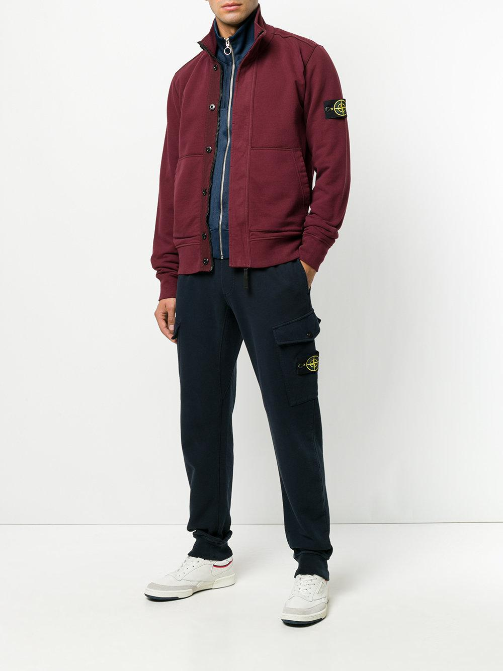Stone Island Cotton Classic Fitted Trousers in Blue for Men