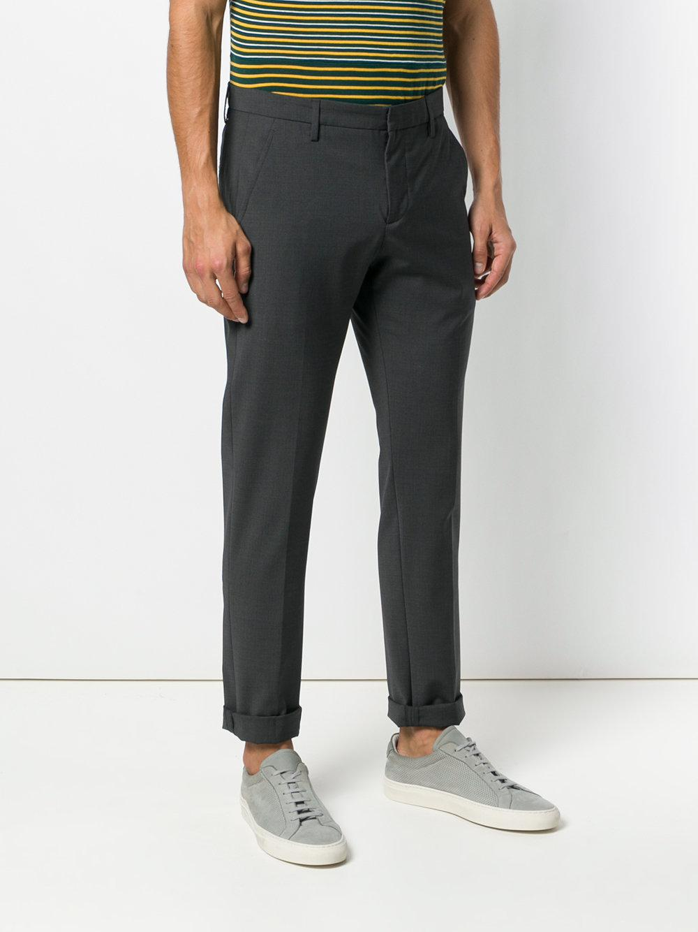 Dondup Wool Straight Leg Trousers in Grey (Grey) for Men