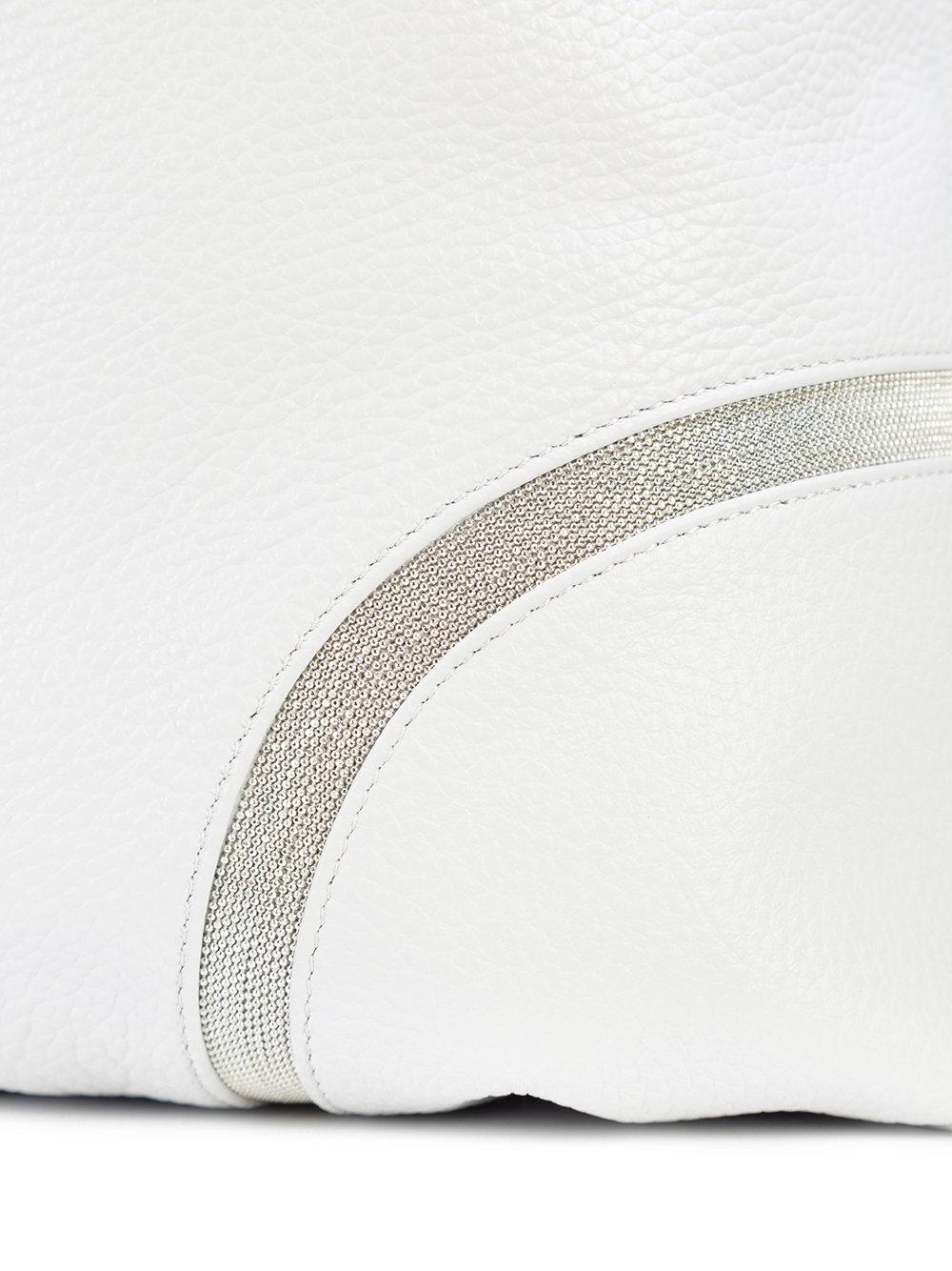 Fabiana Filippi Leather Bead-trimmed Hobo Tote in Grey (Grey)