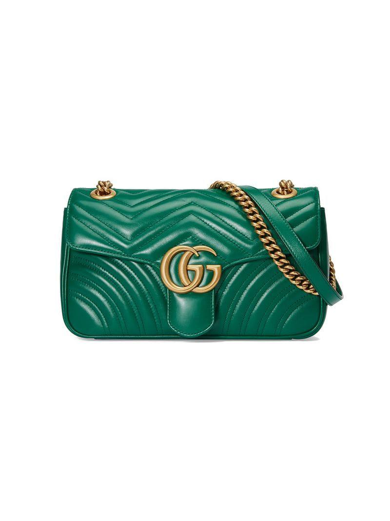 412325f7c553 Gucci GG Marmont Small Shoulder Bag in Green - Save 14% - Lyst
