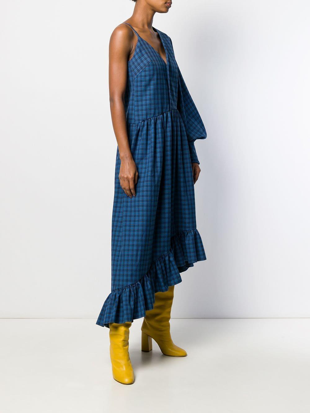 Vestido largo con motivo de cuadros ROKH de Tejido sintético de color Azul