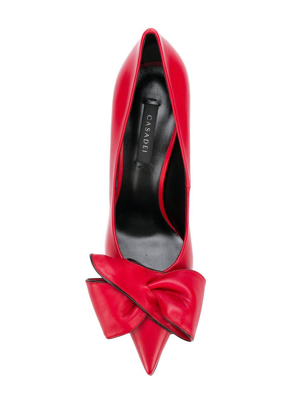 Zapatos de tacón con puntera en punta Casadei de Cuero de color Rojo
