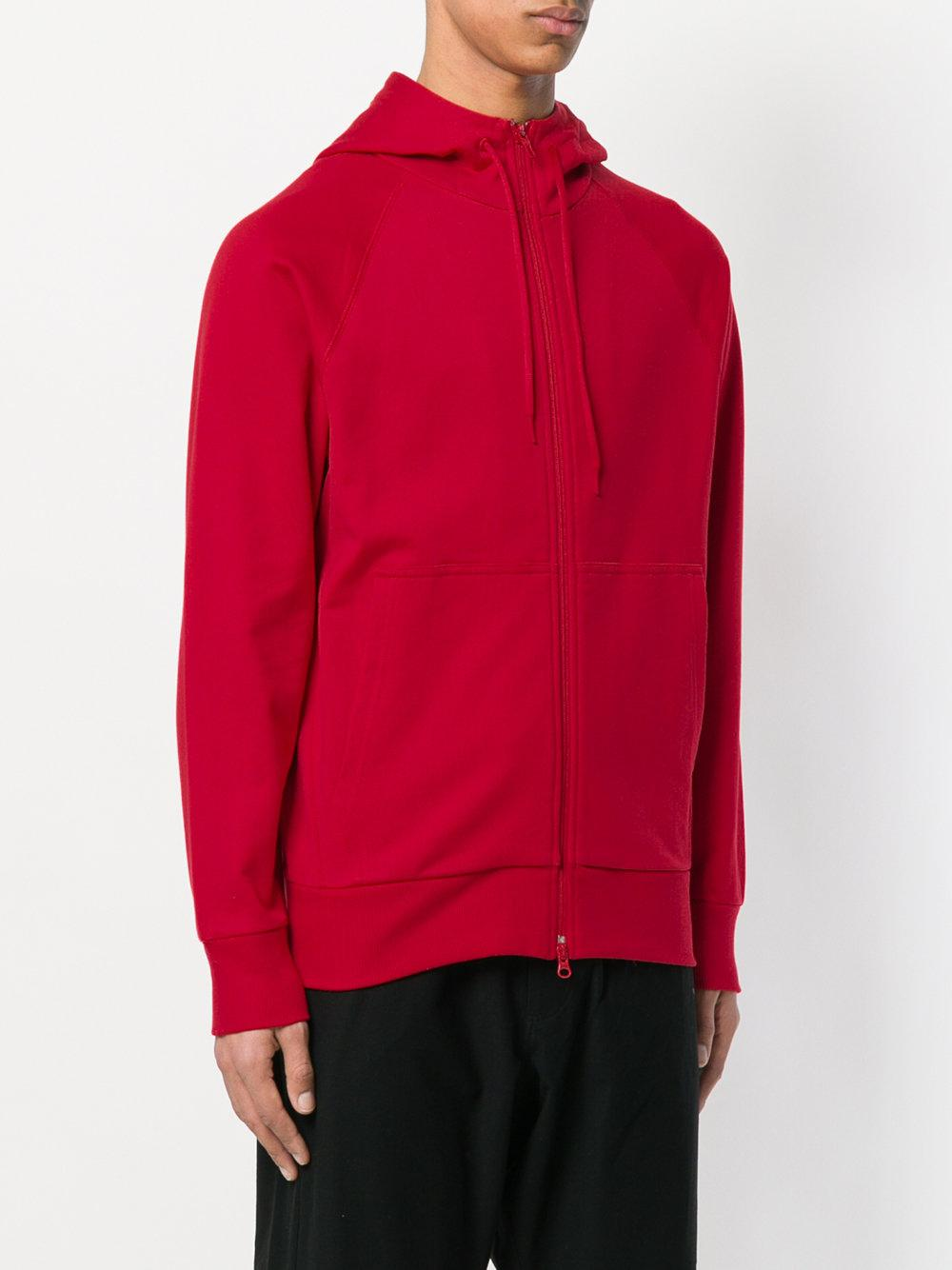 Y-3 Cotton Zip-up Hoodie in Red for Men