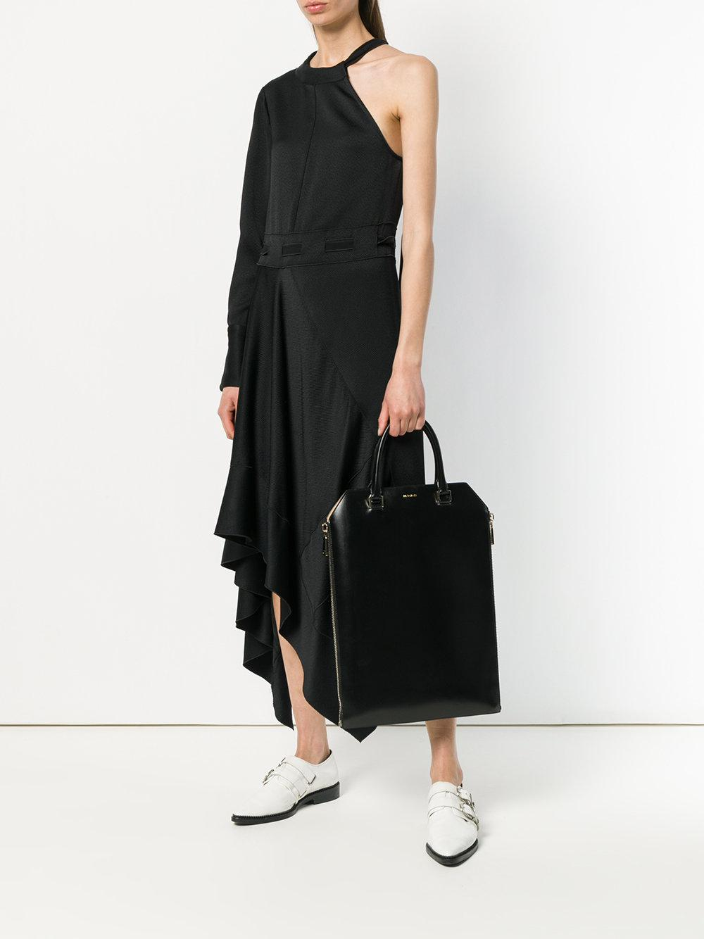 Jil Sander Leather Rectangular Tote Bag in Black