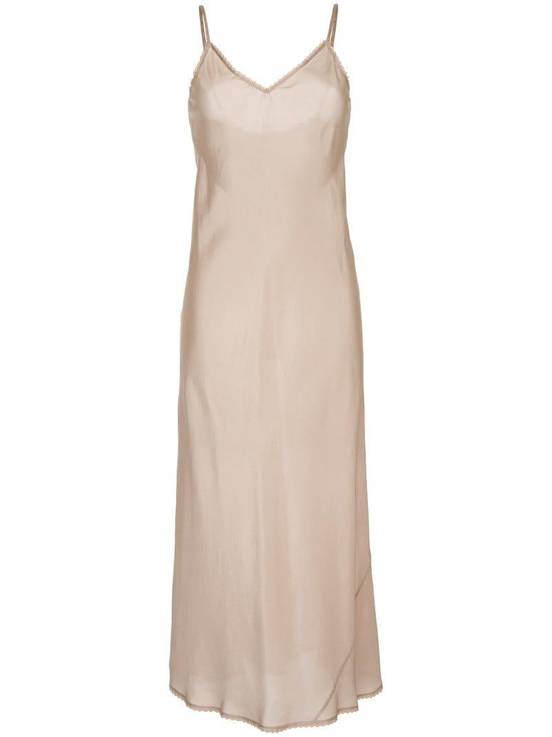 df860f00b7e8 Lyst - Lee Mathews V-neck Slip Dress With Lace in Natural - Save 50%