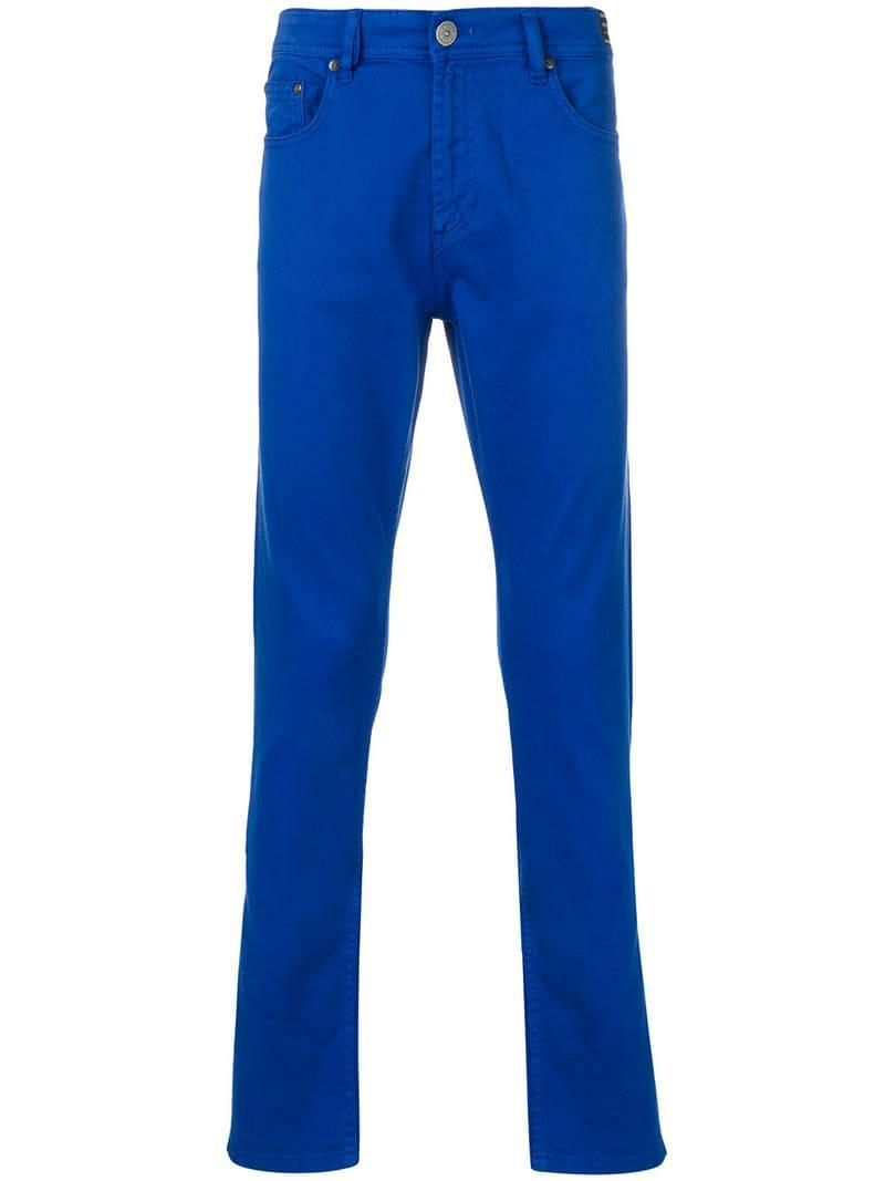 Lyst - Versace Jeans Slim Fit Trousers in Blue for Men c2306ec26f