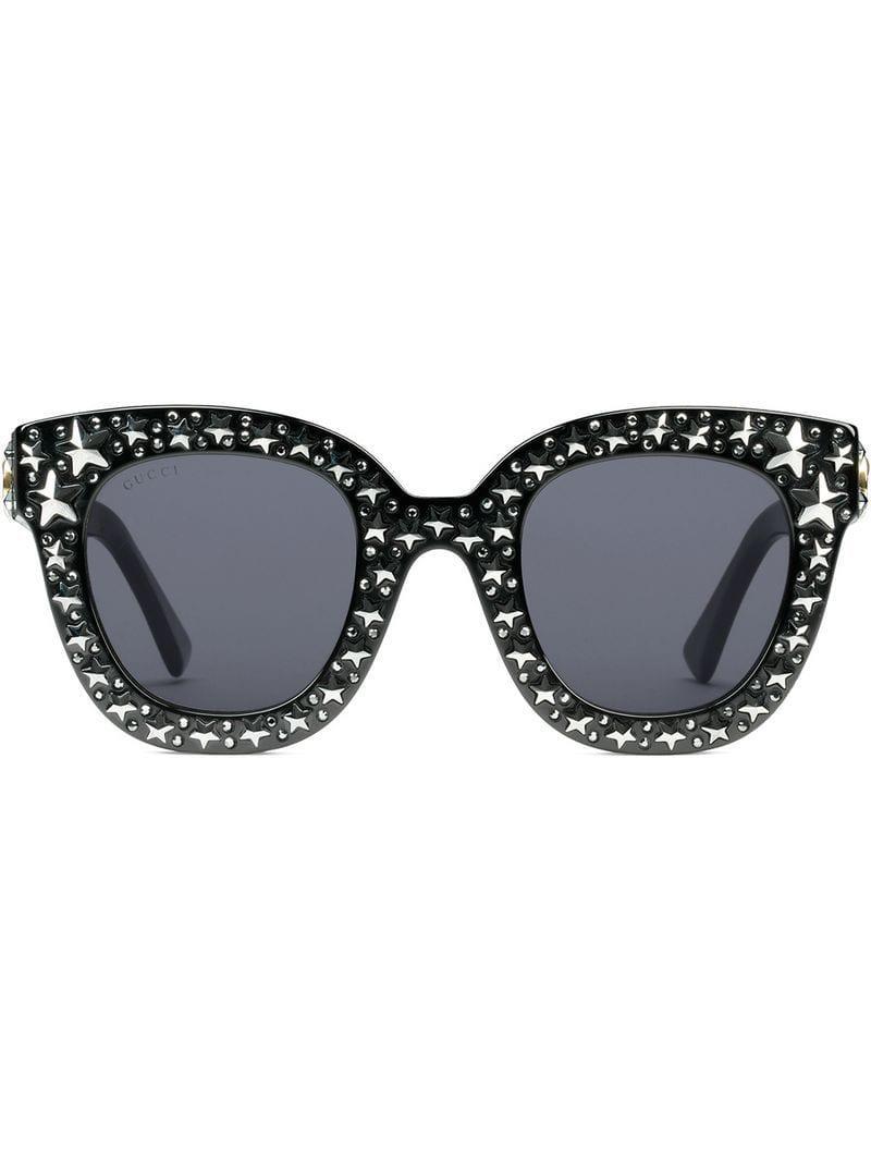 8a4fe2eab6 Gucci Star Embellished Sunglasses in Black - Lyst
